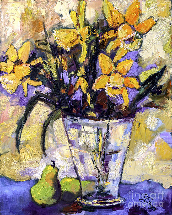 Daffodils Painting - Daffodils And Pears Still Life by Ginette Callaway