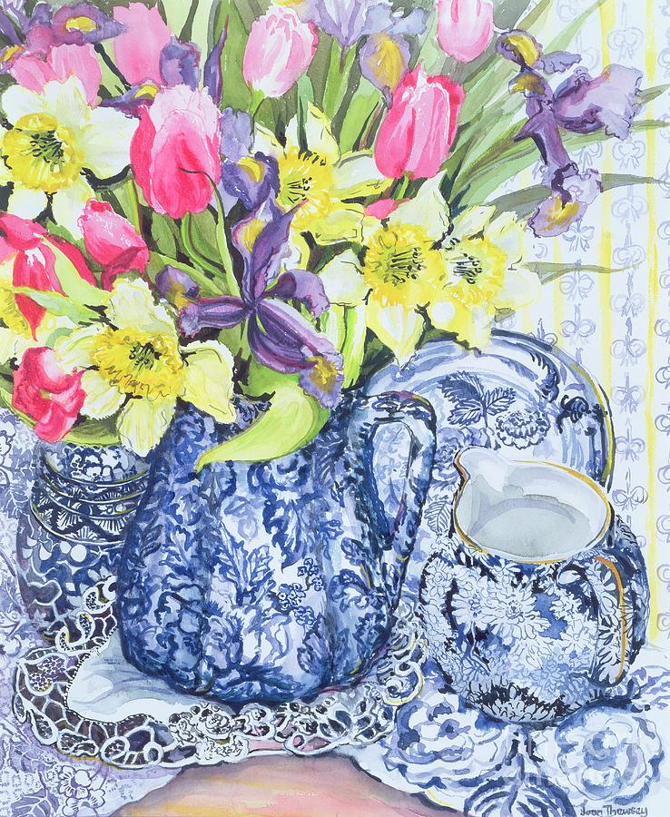 Still Life; Blue And White; China; Doily; Lace; Flowers; Jug Painting - Daffodils Tulips And Irises With Blue Antique Pots  by Joan Thewsey