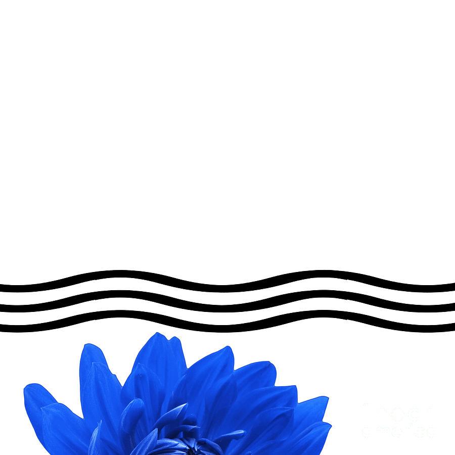 Bathroom Photograph - Dahlia Flower And Wavy Lines Triptych Canvas 1 - Blue by Natalie Kinnear