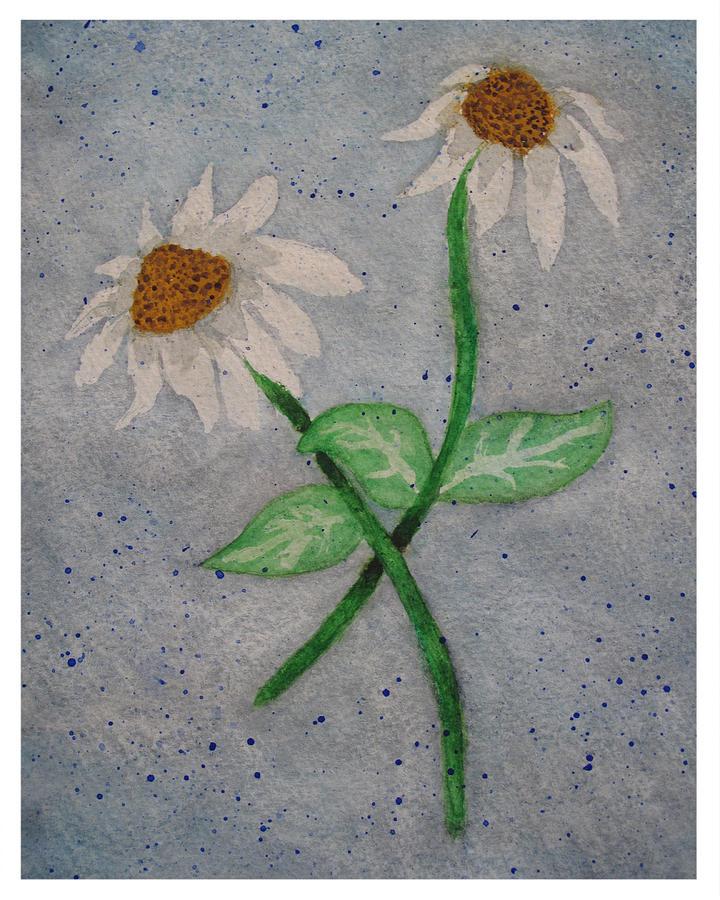 Flowers Painting - Daisies In Stormy Skies by Jennifer Schwab