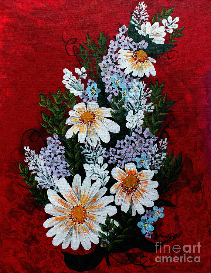Daisies Lilacs And Forget Me Nots Painting
