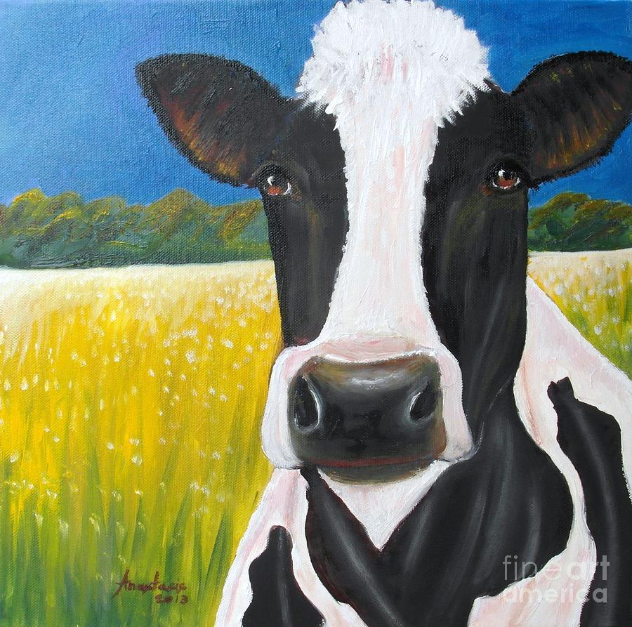 Cow Painting - Daisy Cow by Anastasis  Anastasi