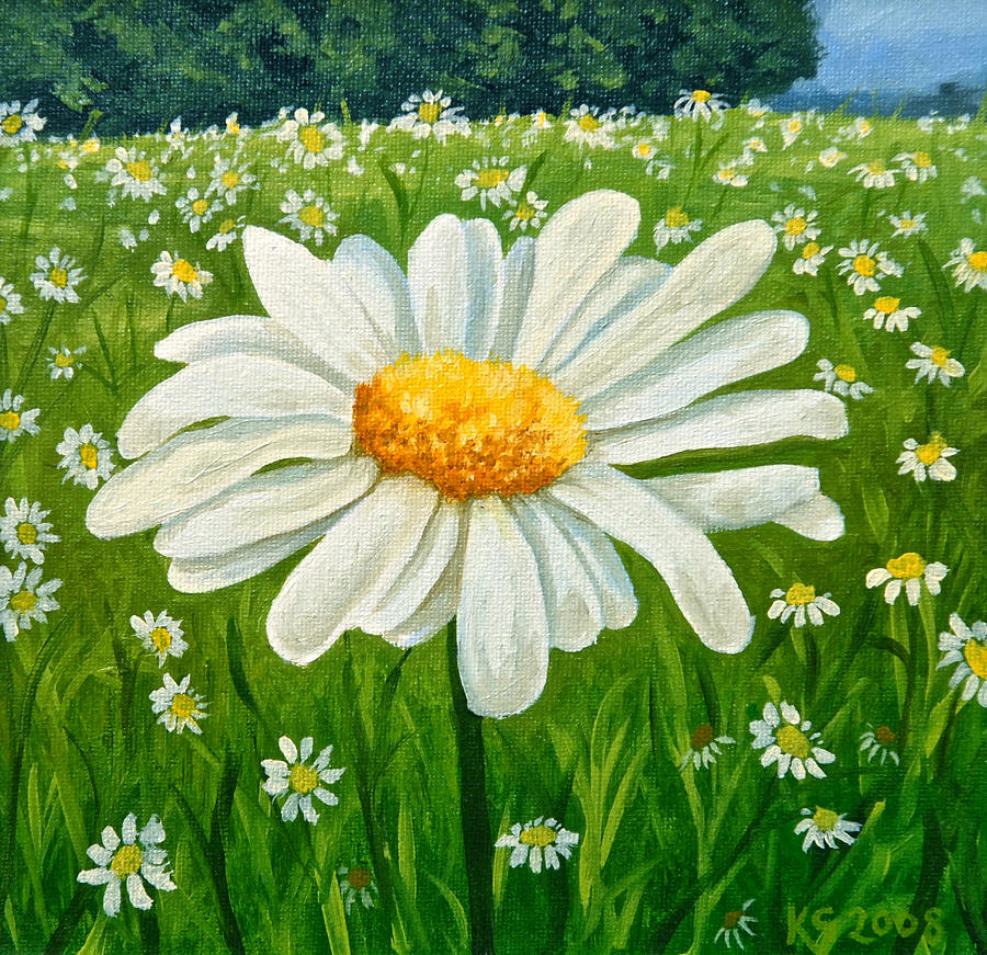 Easy Single Daisy Colors Acrylic Painting