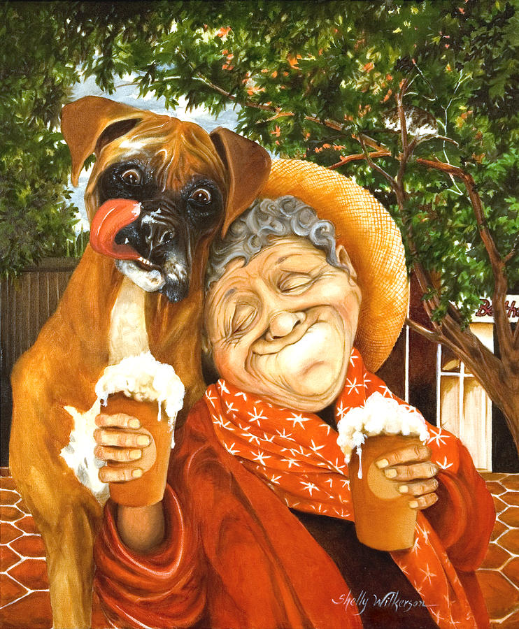 Boxer Painting - Daisys Mocha Latte by Shelly Wilkerson