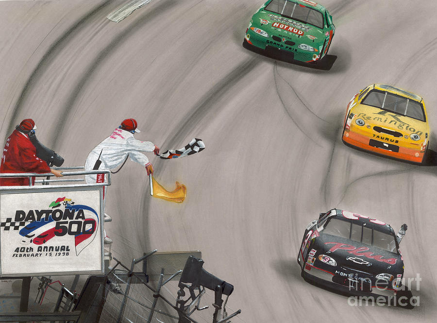 Dale Earnhardt Wins Daytona 500-checkered Flag Drawing  - Dale Earnhardt Wins Daytona 500-checkered Flag Fine Art Print