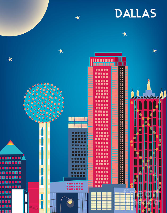 City Wall Art Digital Art - Dallas Nightime Skyline by Karen Young