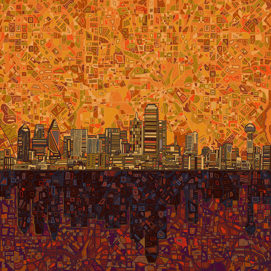 Dallas skyline abstract painting by bekim art for Dallas mural artists