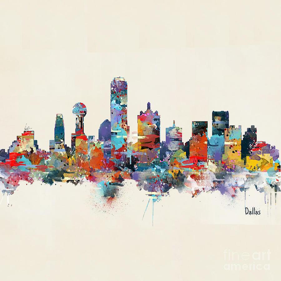 dallas texas skyline square painting by bri b