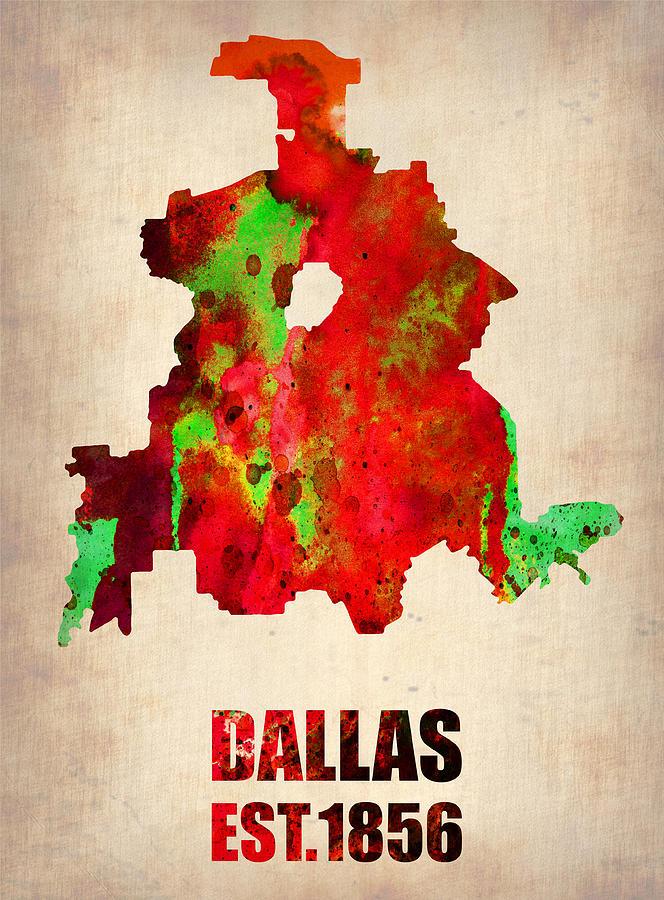 Dallas Watercolor Map Digital Art