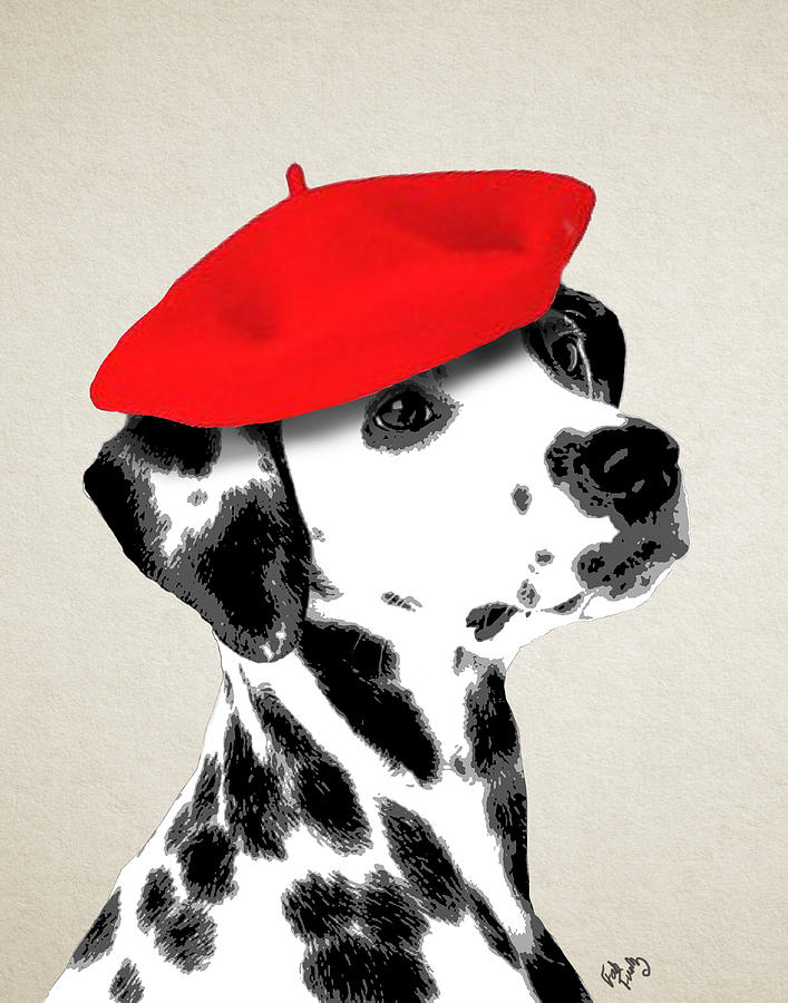 Dalmation Framed Prints Digital Art - Dalmation With Red Beret by Kelly McLaughlan