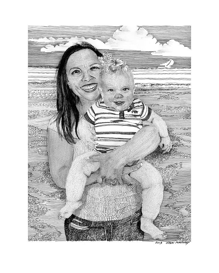 Dana And Brody At The Beach Drawing  - Dana And Brody At The Beach Fine Art Print