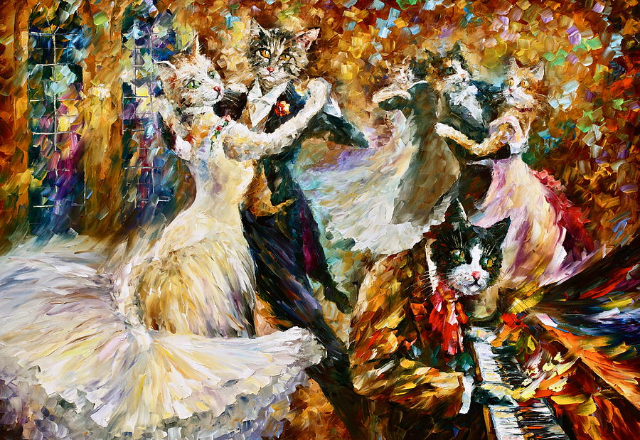 Dance Ball Of Cats  Painting  - Dance Ball Of Cats  Fine Art Print