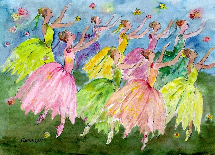 Dance  Of The Flowers Painting  - Dance  Of The Flowers Fine Art Print