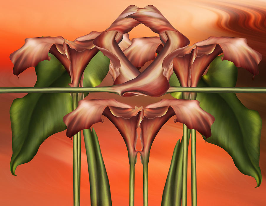 Dance Of The Orange Calla Lilies II Digital Art  - Dance Of The Orange Calla Lilies II Fine Art Print