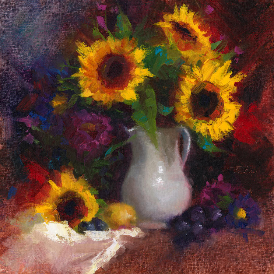 Dance With Me - Sunflower Still Life Painting by Talya Johnson