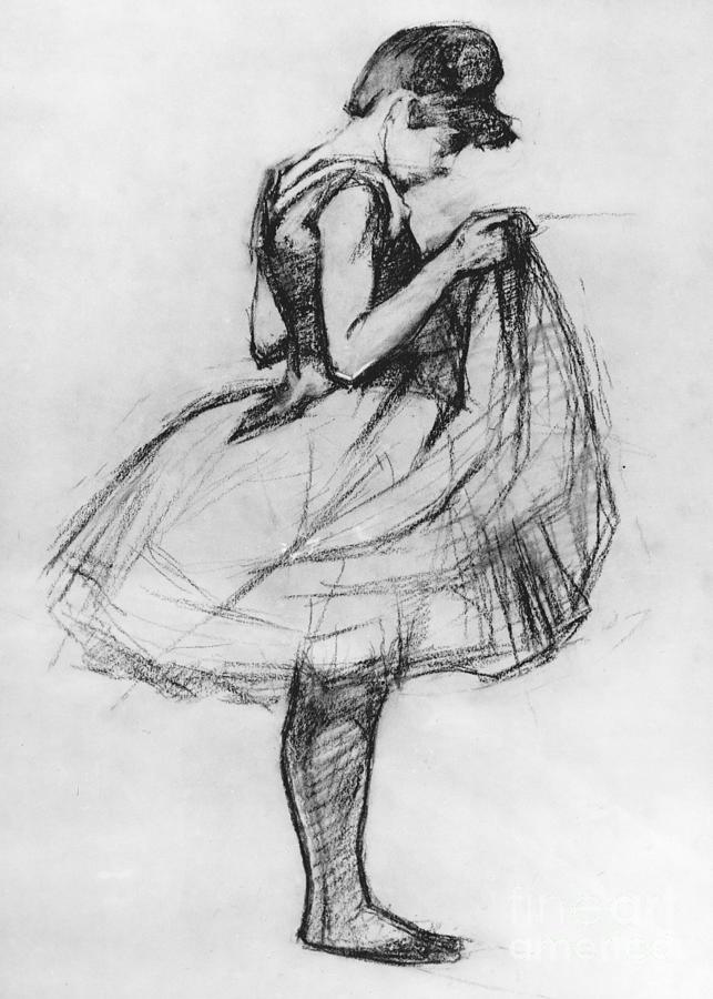 Dancer Adjusting Her Costume And Hitching Up Her Skirt Drawing