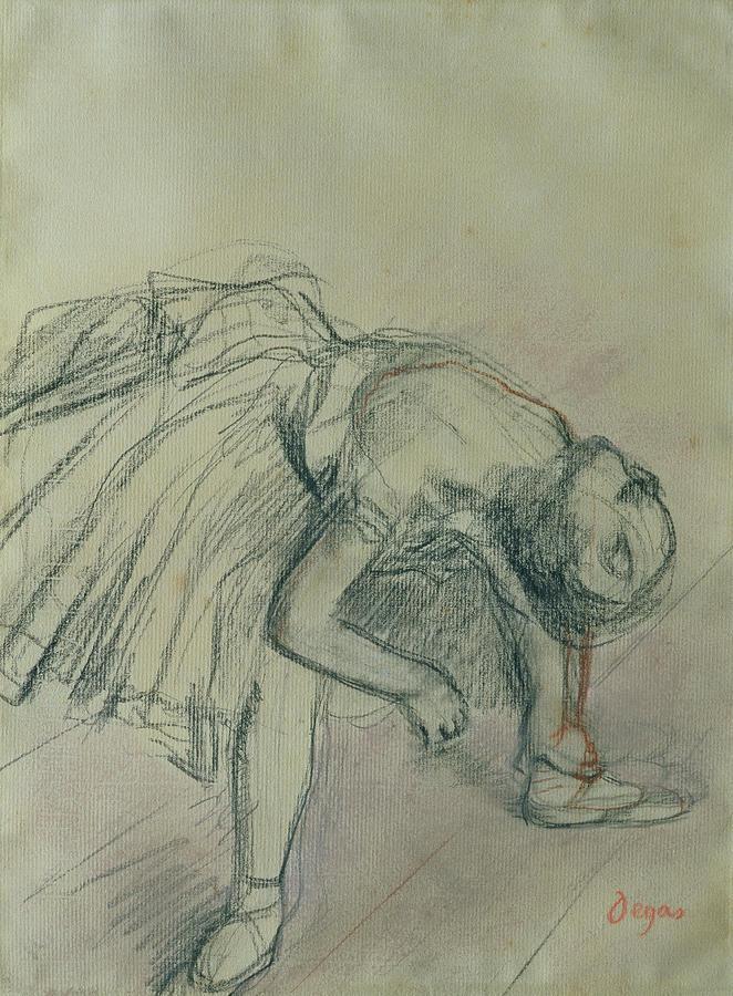 Dancer Fixing Her Slipper Drawing