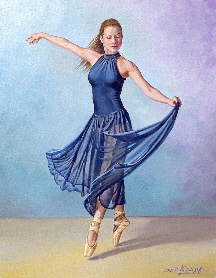 Dancer In Dark Blue Painting