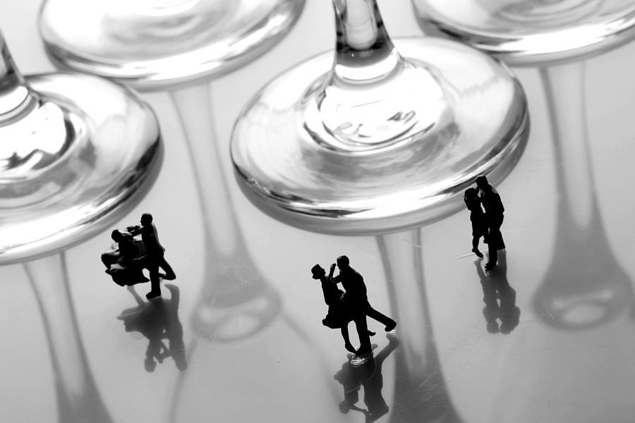 Dancing Among Glass Cups Painting