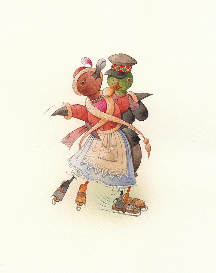 Christmas. Winter Painting - Dancing Ducks 02 by Kestutis Kasparavicius