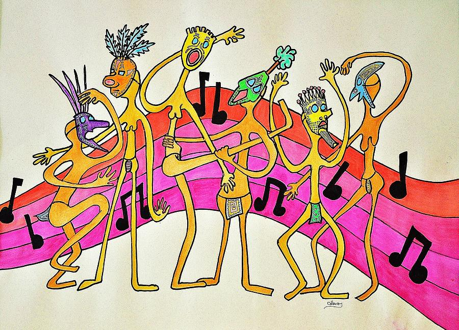 Dancing Happy People Drawing  - Dancing Happy People Fine Art Print