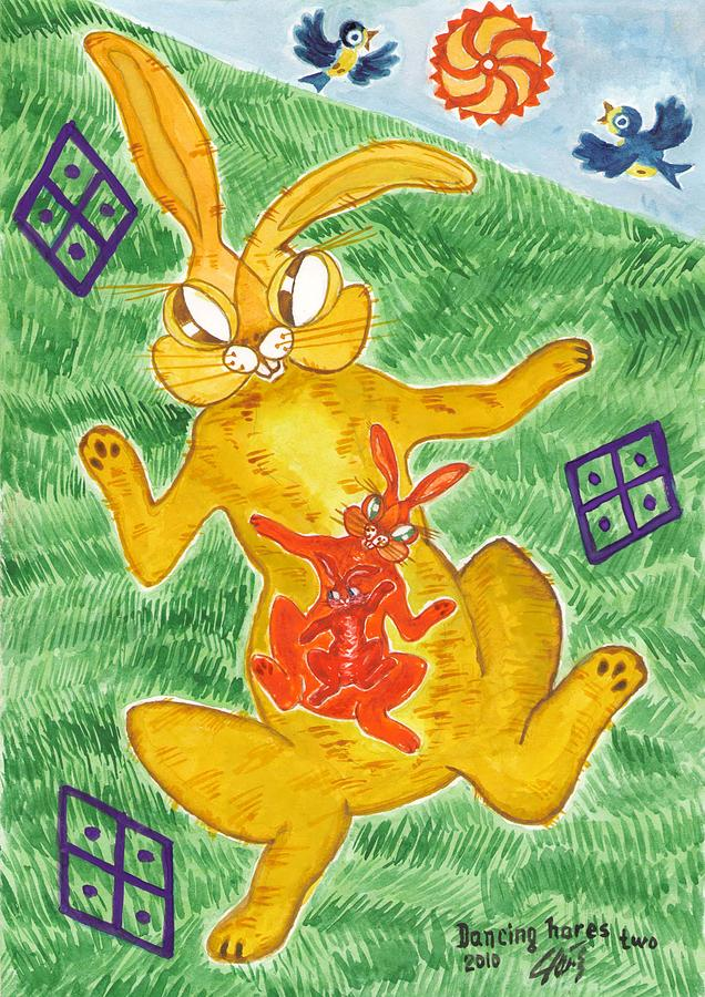 Dancing Hares Two Painting