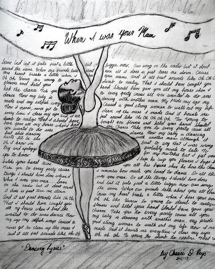 Dancing Lyrics Drawing  - Dancing Lyrics Fine Art Print