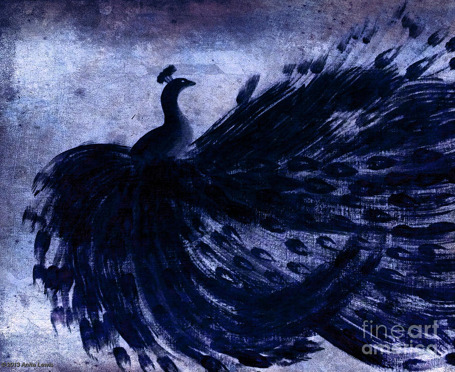 Dancing Peacock Navy Painting