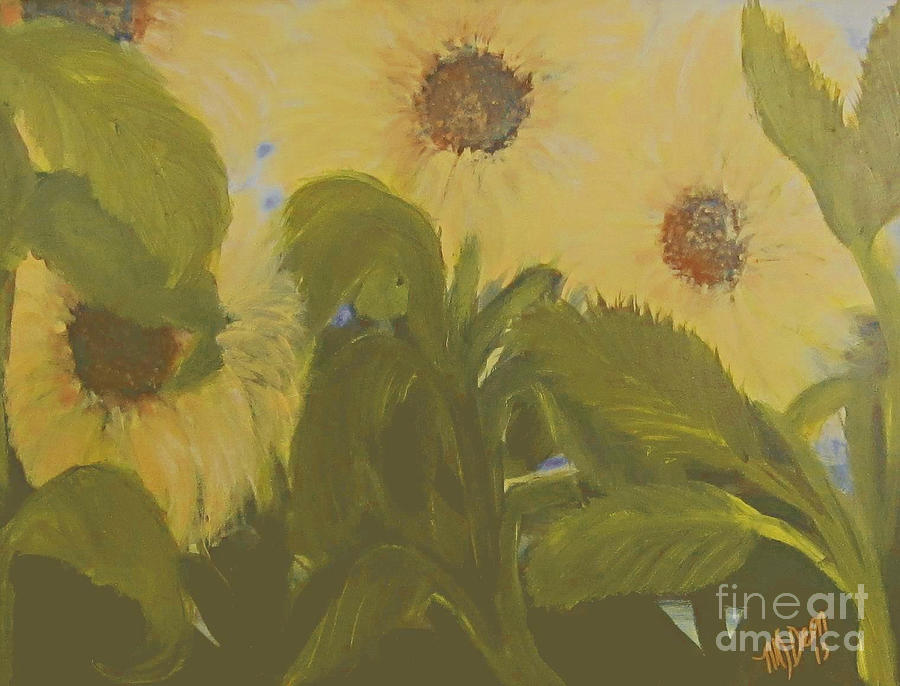 Dancing Sunflowers Painting  - Dancing Sunflowers Fine Art Print