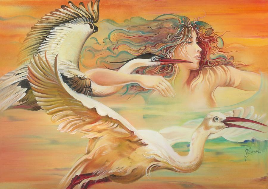 Dancing With Birds Painting  - Dancing With Birds Fine Art Print