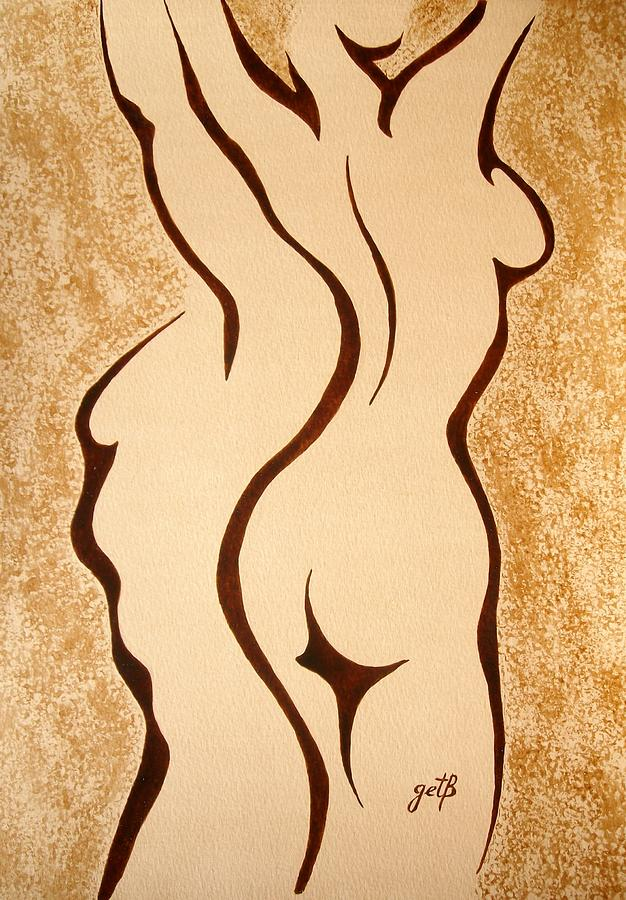 Dangerous Curves Original Coffee Painting Painting  - Dangerous Curves Original Coffee Painting Fine Art Print