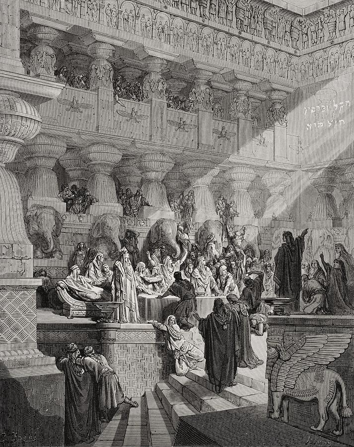 Prophet Painting - Daniel Interpreting The Writing On The Wall by Gustave Dore