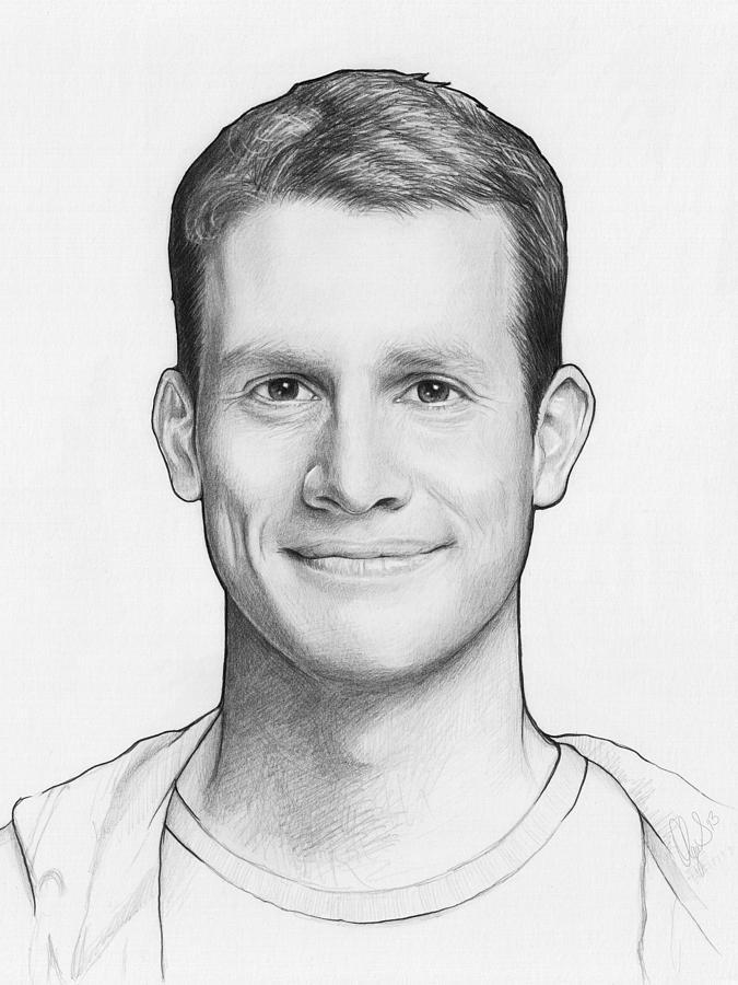 Graphite Pencil Drawing - Daniel Tosh by Olga Shvartsur