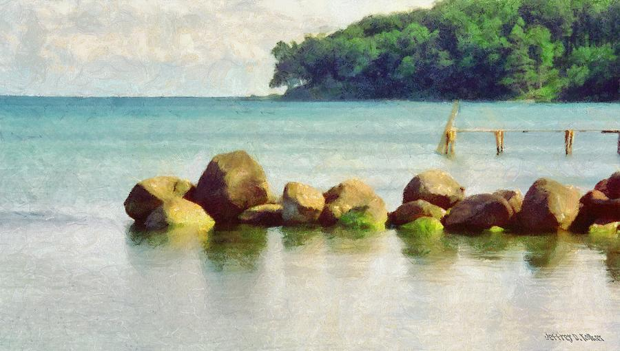 Danish Coast On The Rocks Painting  - Danish Coast On The Rocks Fine Art Print