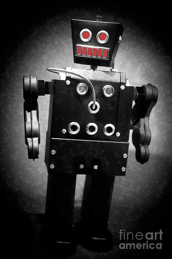 Robot Photograph - Dark Metal Robot Oil by Edward Fielding
