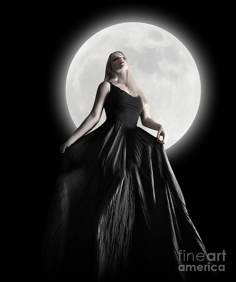 Dark Night Moon Girl With Black Dress Photograph  - Dark Night Moon Girl With Black Dress Fine Art Print
