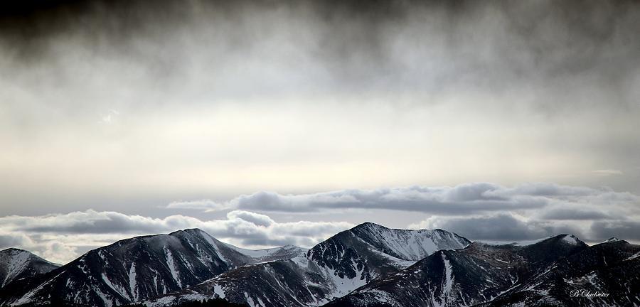 Winter Storm Cloud Virga Mist Over Sangre De Cristo Photograph - Dark Storm Cloud Mist  by Barbara Chichester