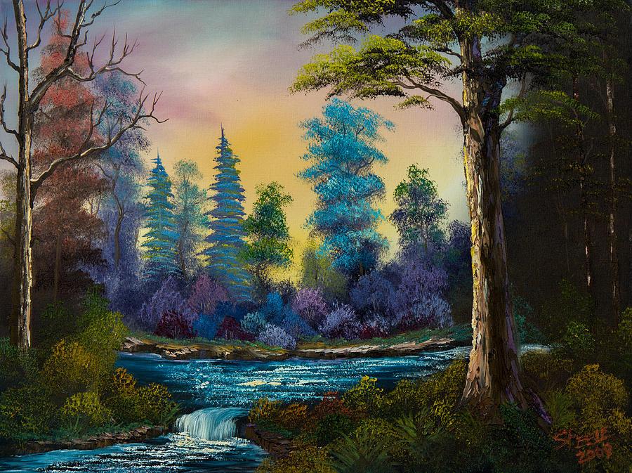 Dark Waterfall Painting