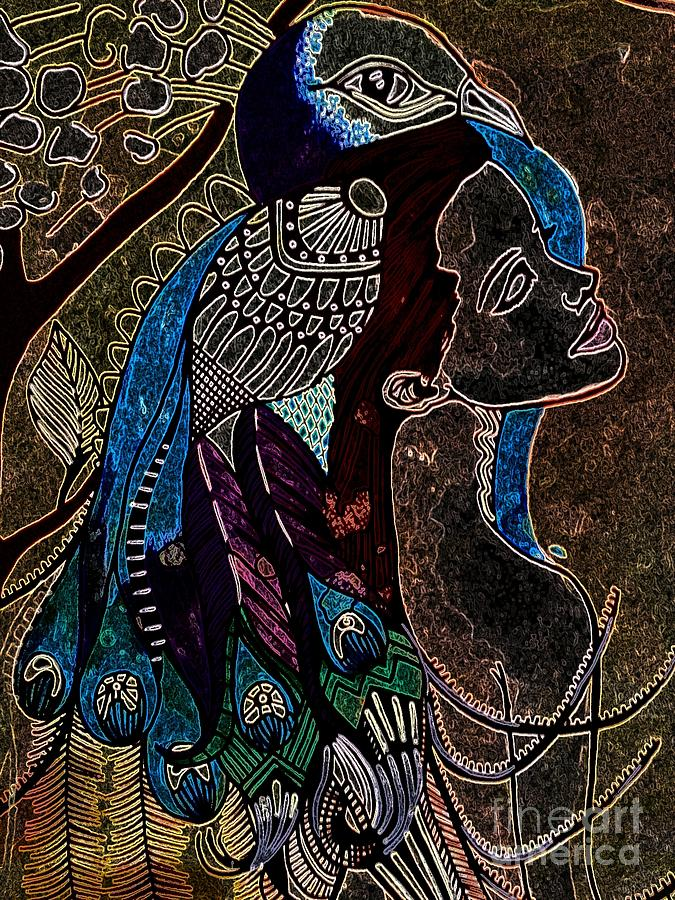 Darkside Peacock Woman Painting  - Darkside Peacock Woman Fine Art Print