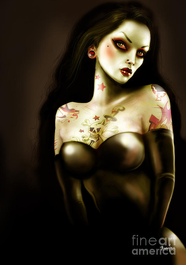 Darkstar Gothic Pinup Art Print Digital Art
