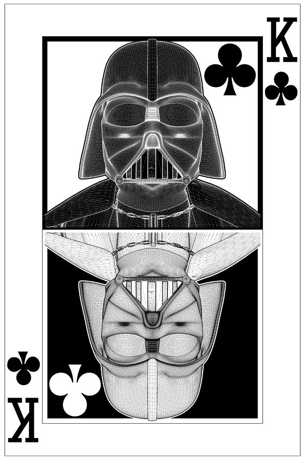Darth vader ying yang king of clubs card is a piece of digital artwork