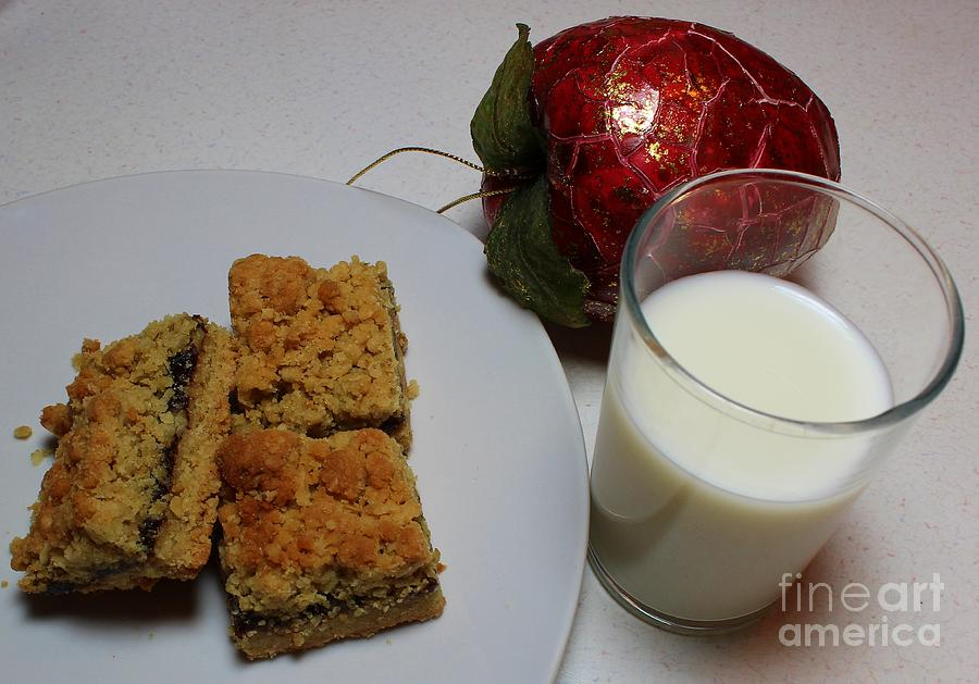 Dates Photograph - Date Squares - Snack - Dessert - Milk by Barbara Griffin
