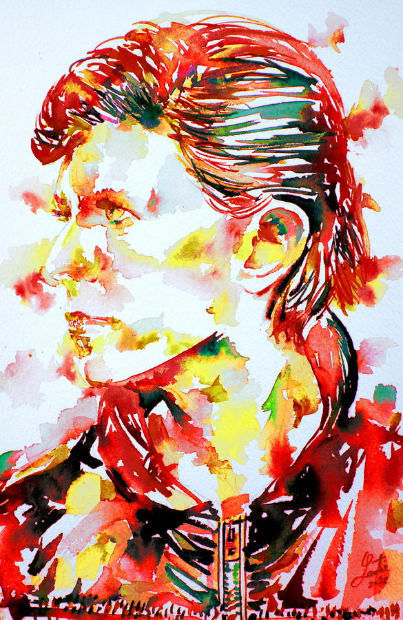 David Painting - David Bowie Watercolor Portrait.1 by Fabrizio Cassetta