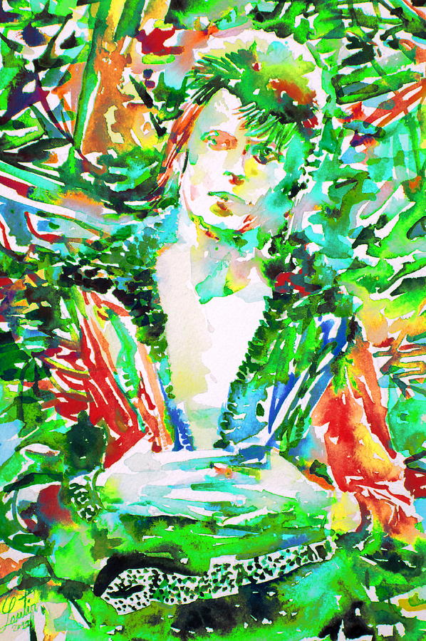 David Bowie Watercolor Portrait.2 Painting  - David Bowie Watercolor Portrait.2 Fine Art Print