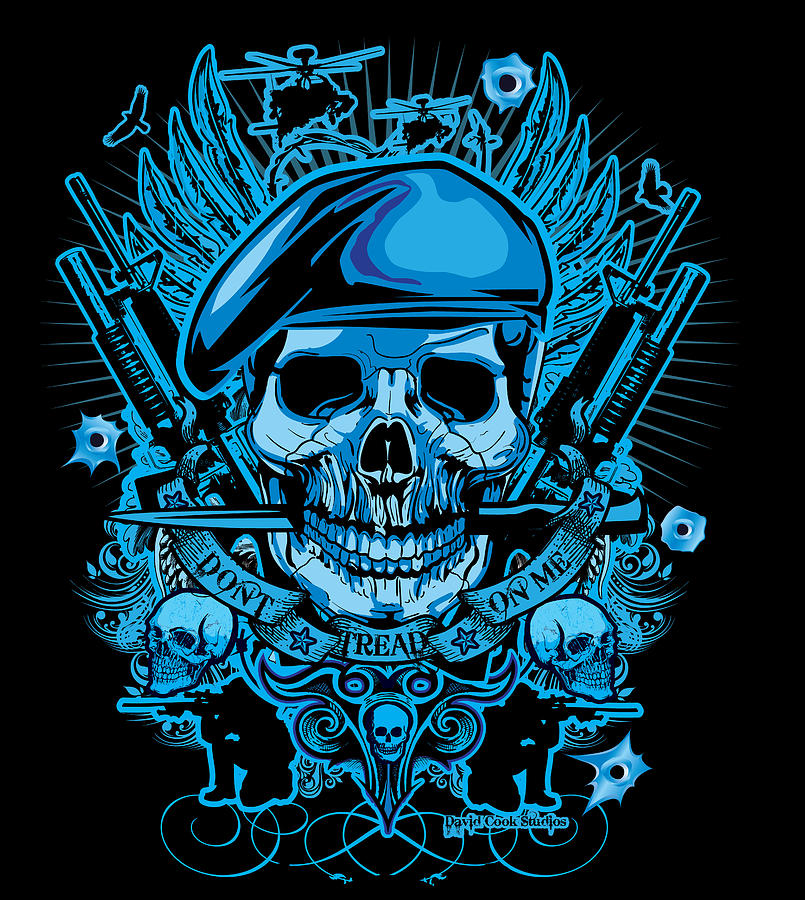 David Cook Studios Army Ranger Military Skull Art Digital Art  - David Cook Studios Army Ranger Military Skull Art Fine Art Print