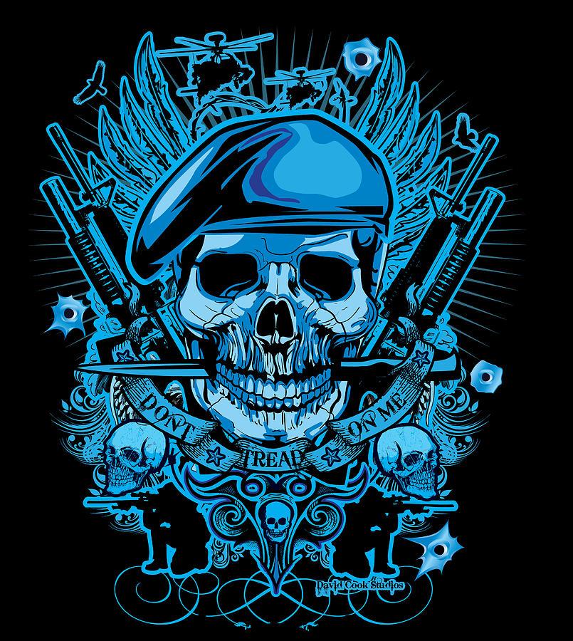 Digital Art - David Cook Studios Army Ranger Military Skull Art by David Cook  Los Angeles Prints