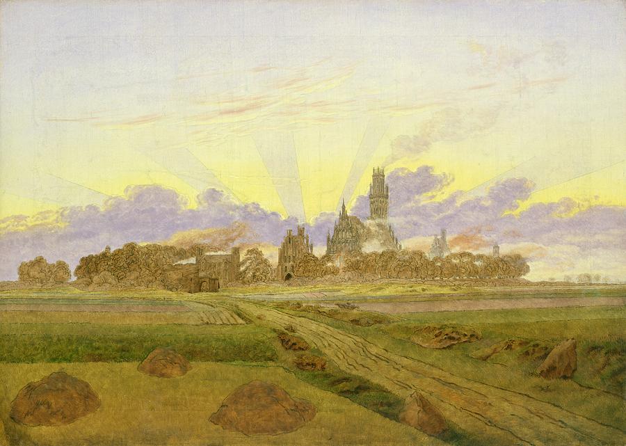 Landscape Painting - Dawn At Neubrandenburg by Caspar David Friedrich