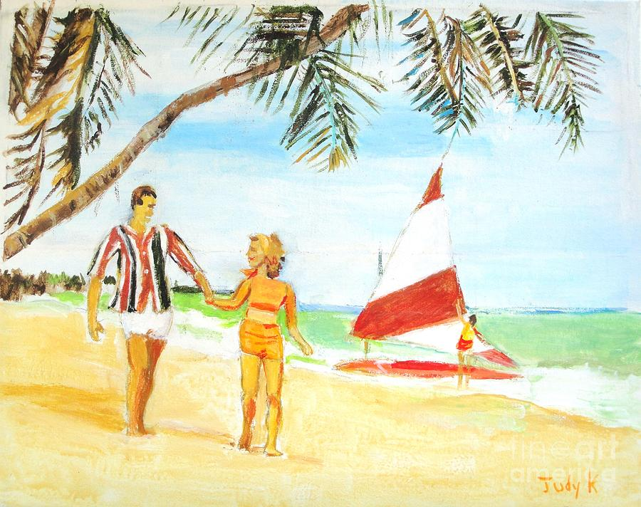 Day At The Beach Painting  - Day At The Beach Fine Art Print