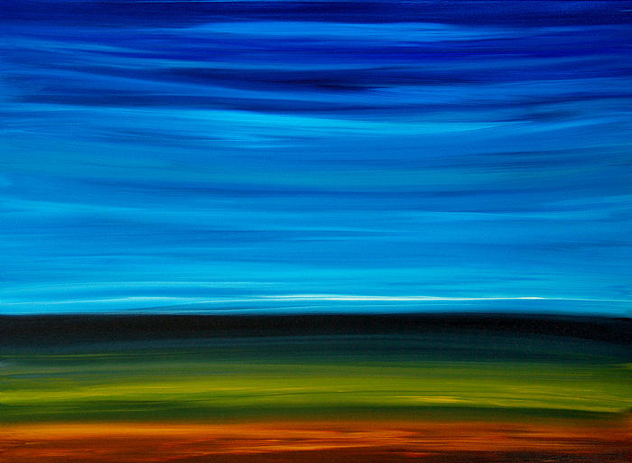 Day Break - Blue Sky Green Grass Painting Painting  - Day Break - Blue Sky Green Grass Painting Fine Art Print