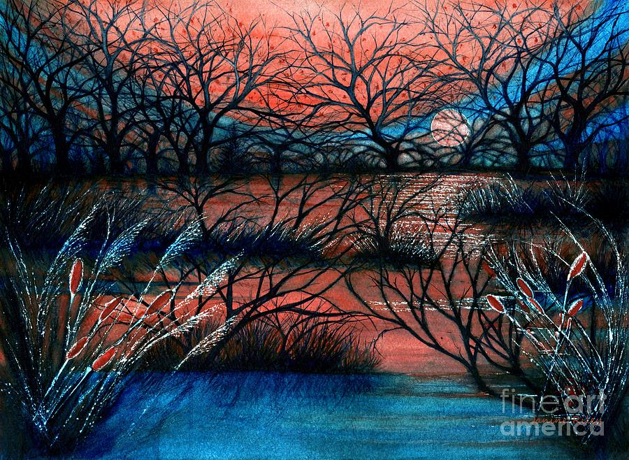 Bare Trees Painting - Day Is Done October Sky by Janine Riley